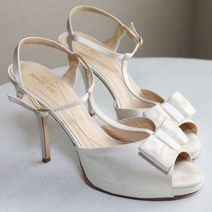Kate Spade Ivory Satin Sandal Heels w/ Bow Sz 10